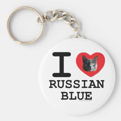 Amo el azul ruso llavero