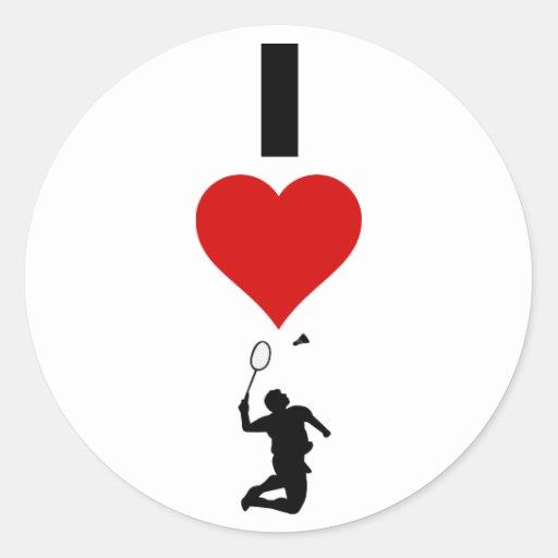 Amo el bádminton (vertical) etiqueta redonda