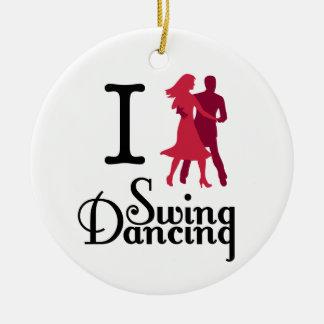 Amo el baile del oscilación adorno navideño redondo de cerámica