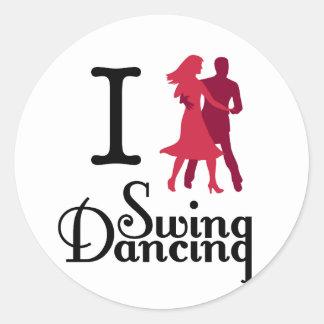 Amo el baile del oscilación pegatina redonda
