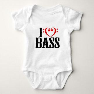 Amo el bajo, con el corazón del clef bajo body para bebé