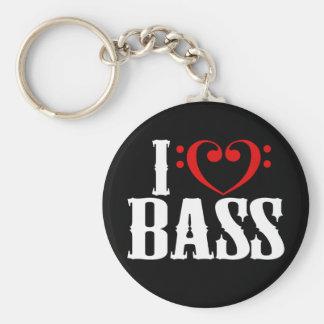 Amo el bajo, con el corazón del clef bajo llaveros personalizados