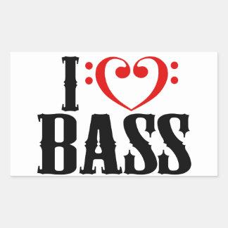 Amo el bajo, con el corazón del clef bajo pegatina rectangular