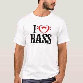 Amo el bajo, con el corazón del clef bajo playera