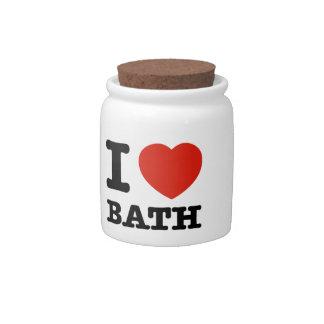 Amo el baño plato para caramelo