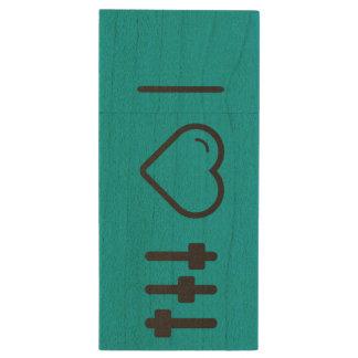 Amo el batir memoria USB 2.0 de madera