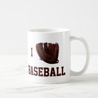 Amo el béisbol, béisbol del guante de I Taza Básica Blanca