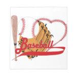 Amo el béisbol - bola, palo, guante de béisbol bloc