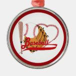 Amo el béisbol - bola, palo, guante de béisbol ornatos
