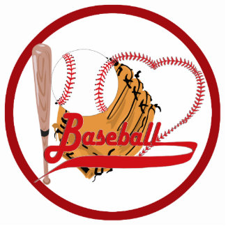 Amo el béisbol - bola, palo, guante de béisbol esculturas fotográficas