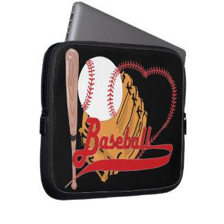 Amo el béisbol - bola, palo, guante de béisbol funda computadora