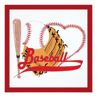 """Amo el béisbol - bola, palo, guante de béisbol invitación 5.25"""" x 5.25"""""""