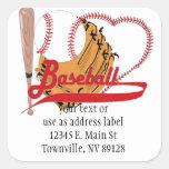 Amo el béisbol - bola, palo, guante de béisbol calcomanías cuadradas personalizadas