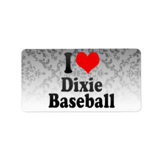 Amo el béisbol de Dixie Etiqueta De Dirección