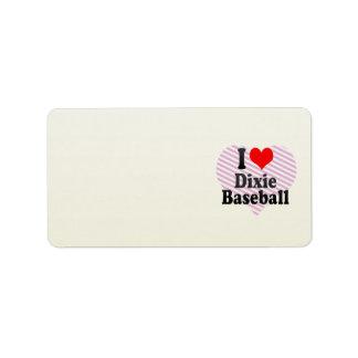 Amo el béisbol de Dixie Etiquetas De Dirección