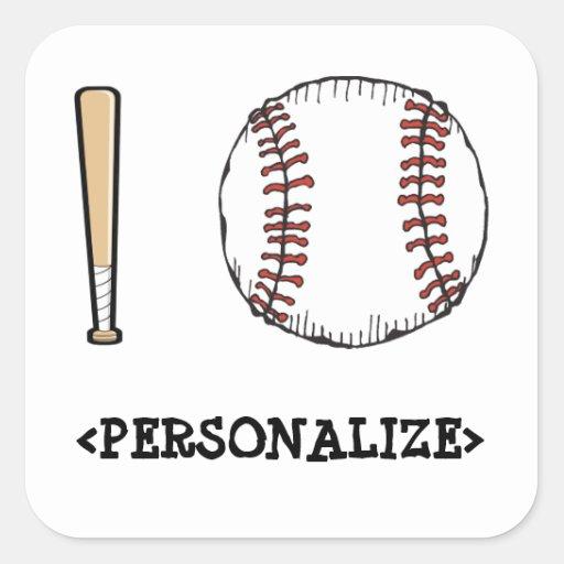Amo (el béisbol), <PERSONALIZE> Pegatina Cuadrada