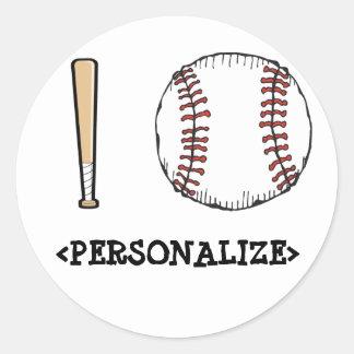 Amo el béisbol PERSONALIZE Pegatina Redonda