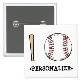 Amo el béisbol PERSONALIZE Pins