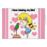 Amo el besar de mi dibujo animado lindo del pájaro felicitaciones