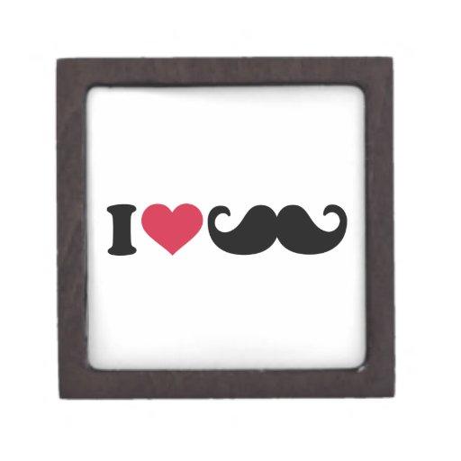 Amo el bigote cajas de recuerdo de calidad