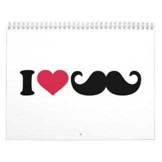 Amo el bigote calendario de pared
