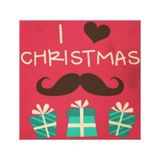 Amo el bigote del navidad impresión de lienzo