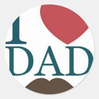 Amo el bigote del papá pegatina redonda