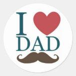 Amo el bigote del papá pegatinas