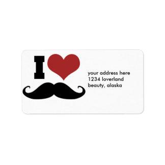 Amo el bigote etiqueta de dirección