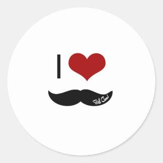Amo el bigote pegatina redonda