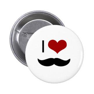 Amo el bigote pin redondo 5 cm