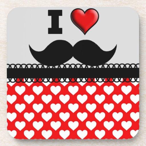 Amo el bigote Stache del bigote Posavasos De Bebidas