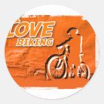 Amo el Biking de barras Pegatinas Redondas