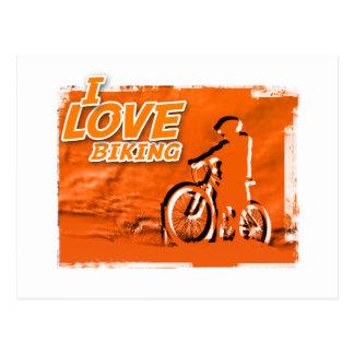 Amo el Biking de barras Postales