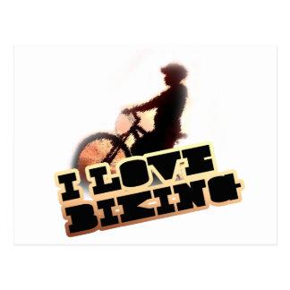 Amo el Biking de los clips Tarjeta Postal