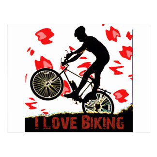 Amo el Biking de los engranajes Tarjeta Postal