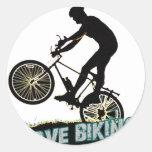 Amo el Biking de los rayos Pegatinas Redondas