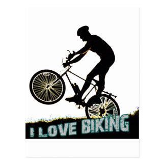 Amo el Biking de los rayos Tarjeta Postal