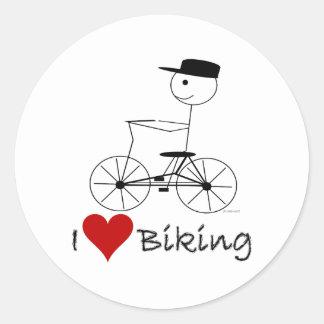Amo el Biking de los regalos y de la ropa Pegatina Redonda