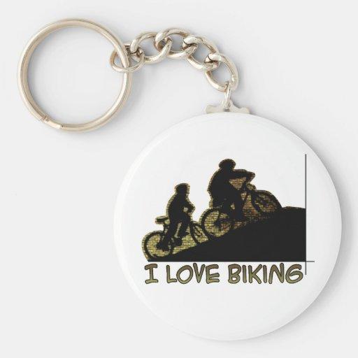 Amo el Biking del tronco Llavero Redondo Tipo Pin