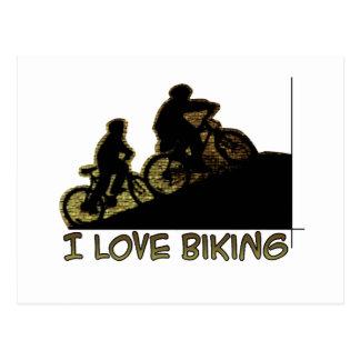 Amo el Biking del tronco Tarjeta Postal