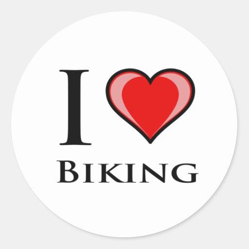Amo el Biking Etiquetas Redondas