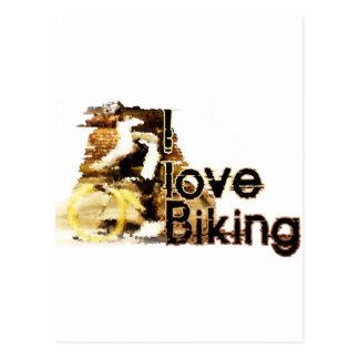 Amo el Biking limpio hacia fuera Tarjetas Postales