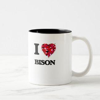 Amo el bisonte taza de dos tonos