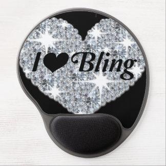 Amo el bling de la estera del ratón del gel