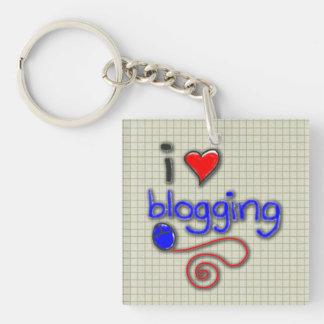 Amo el Blogging Llavero Cuadrado Acrílico A Doble Cara