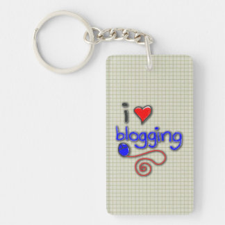 Amo el Blogging Llavero Rectangular Acrílico A Doble Cara