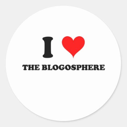 Amo el Blogosphere Pegatina Redonda