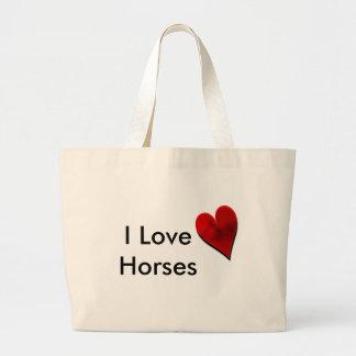 Amo el bolso de la lona de los caballos bolsa de mano