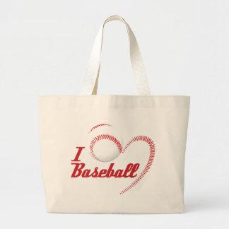 Amo el bolso de la obra clásica del béisbol bolsa tela grande